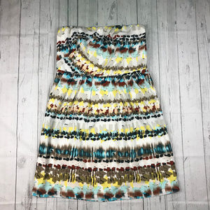 The Limited multicolor print strapless dress NWT